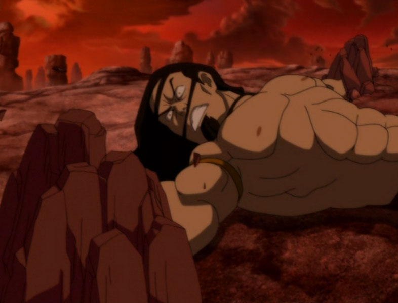 Ozai Lightning Aang floats over ozai and